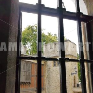 ENGLAND – CIRCA 2011: Bared windows in Windsor Castle. - Actor Stock Footage
