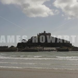 ENGLAND – CIRCA 2011: Dark day St Michael's Mount - Actor Stock Footage
