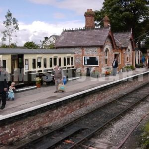 ENGLAND – CIRCA 2011: Old english country train station. - Actor Stock Footage
