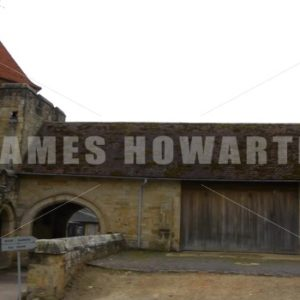 ENGLAND – CIRCA 2011: Pan past barns and rear entrance at Penshurst Place. - Actor Stock Footage