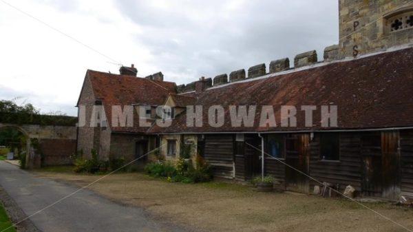 ENGLAND – CIRCA 2011: Pan past barns at Penshurst Place. - Actor Stock Footage