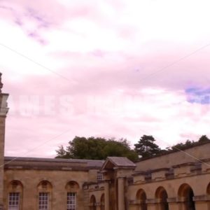 ENGLAND – CIRCA 2011: Pan to gate entrance to Howard Castle. - Actor Stock Footage