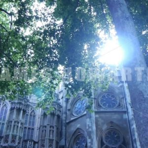 ENGLAND – CIRCA 2011: Tilt up and pan to old church. - Actor Stock Footage
