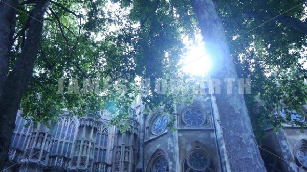 ENGLAND – CIRCA 2011: Tilt up and pan to old church. - Actor Stock Footage
