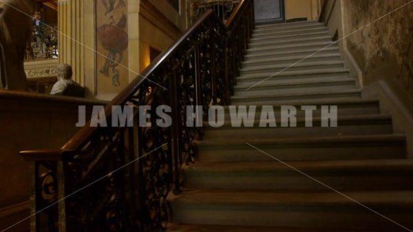 ENGLAND – CIRCA 2011: Tilt up staircase inside Howard Castle. - Actor Stock Footage