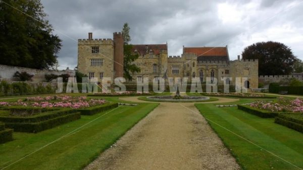 ENGLAND – CIRCA 2011: Tilt up to gardens and Penshurst Place Castle. - Actor Stock Footage