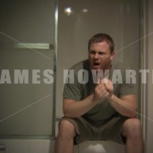 Man alone bathroom going hearing voices - Actor Stock Footege
